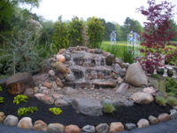 waterfall water feature in garden
